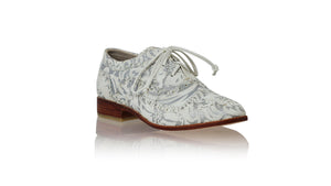 leather shoes Pedro 25mm Flat - White Silver Batik Print, flats laceup , NILUH DJELANTIK - 1