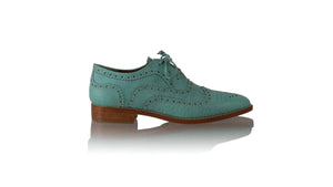 Leather-shoes-Pedro 25mm Flats - Aqua Croco Print-flats laceup-NILUH DJELANTIK-NILUH DJELANTIK