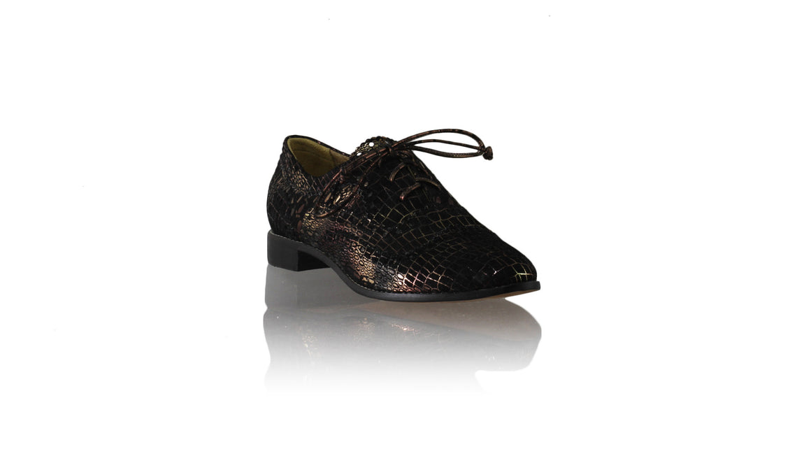 Pedro 25mm Flats - Black & Bronze Croco Print