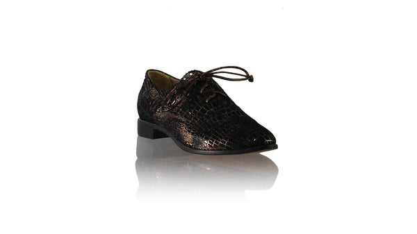 Leather-shoes-Pedro 25mm Flat - Black & Bronze Croco Print-flats laceup-NILUH DJELANTIK-NILUH DJELANTIK