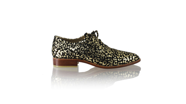 Leather-shoes-Pedro 25mm Flat - Black & Gold Leopard Print-flats laceup-NILUH DJELANTIK-NILUH DJELANTIK