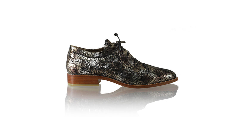 Leather-shoes-Pedro 25mm Flat - Black & Gold Python Snake Print-flats laceup-NILUH DJELANTIK-NILUH DJELANTIK