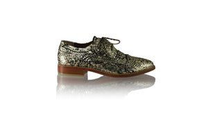 Leather-shoes-Pedro 25mm Flats - Black & Gold Python Snake Print-flats laceup-NILUH DJELANTIK-NILUH DJELANTIK