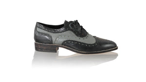 leather shoes Pedro 25mm Flats - Black & Grey Net, flats laceup , NILUH DJELANTIK - 1