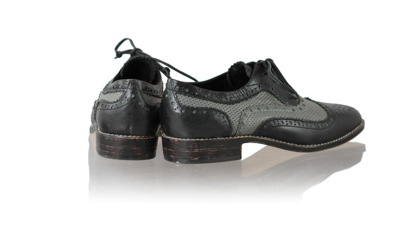 Leather-shoes-Pedro 25mm Flat - Black & Grey Net-flats laceup-NILUH DJELANTIK-NILUH DJELANTIK
