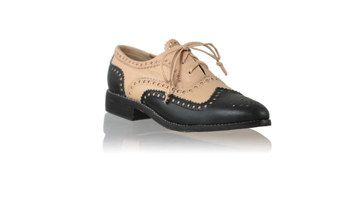 leather shoes Pedro 25mm Flats - Black & Nude, flats laceup , NILUH DJELANTIK - 1