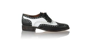 Leather-shoes-Pedro 25mm Flats - Black & White-flats laceup-NILUH DJELANTIK-NILUH DJELANTIK
