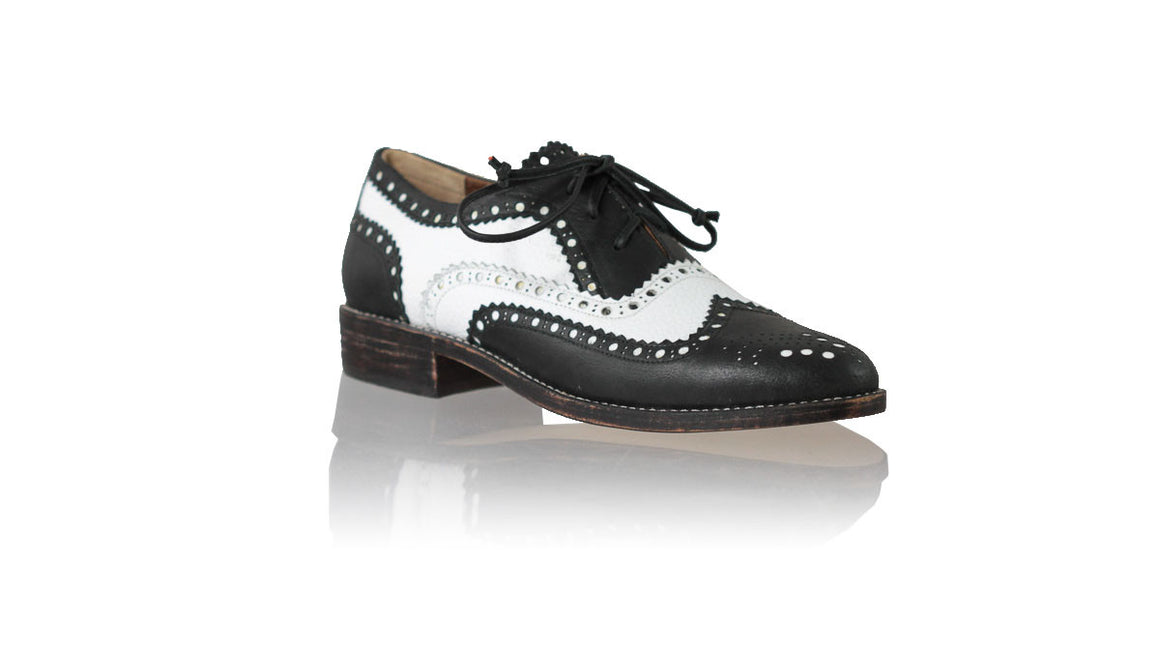 leather shoes Pedro 25mm Flats - Black & White, flats laceup , NILUH DJELANTIK - 1