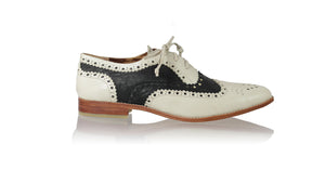 leather shoes Pedro 25mm Flats - Butter & Black Cracking, flats laceup , NILUH DJELANTIK - 1