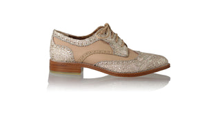 leather shoes Mika 25mm Flats - Cream & Gold Batik with Baby Pink, flats laceup , NILUH DJELANTIK - 1
