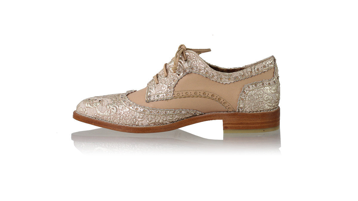 Leather-shoes-Mika 25mm Flat - Cream & Gold Batik with Baby Pink-flats laceup-NILUH DJELANTIK-NILUH DJELANTIK