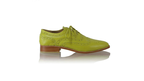 Leather-shoes-Pedro 25mm Flat - Lime Green BKK-flats laceup-NILUH DJELANTIK-NILUH DJELANTIK