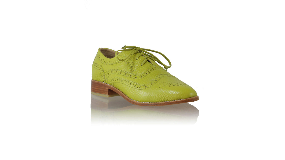 Leather-shoes-Pedro 25mm Flats - Lime Green BKK-flats laceup-NILUH DJELANTIK-NILUH DJELANTIK