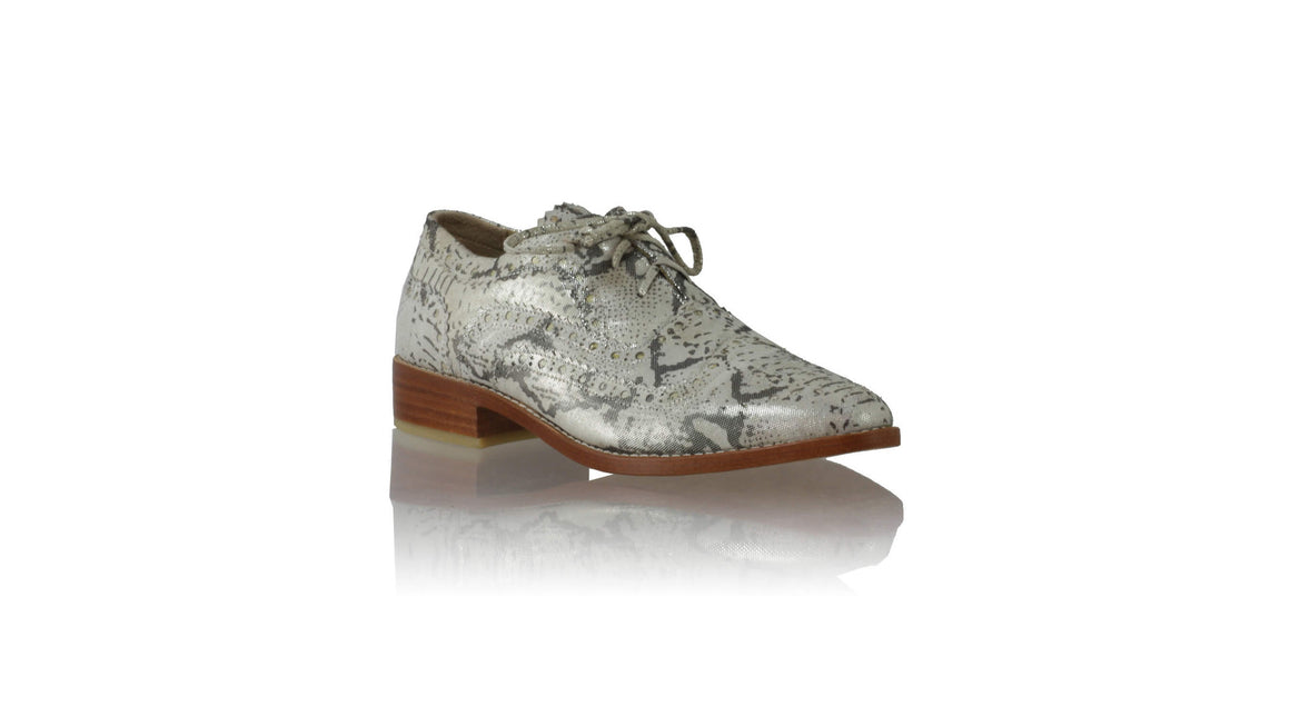 Leather-shoes-Pedro 25mm Flats - Grey Snake Print-flats laceup-NILUH DJELANTIK-NILUH DJELANTIK
