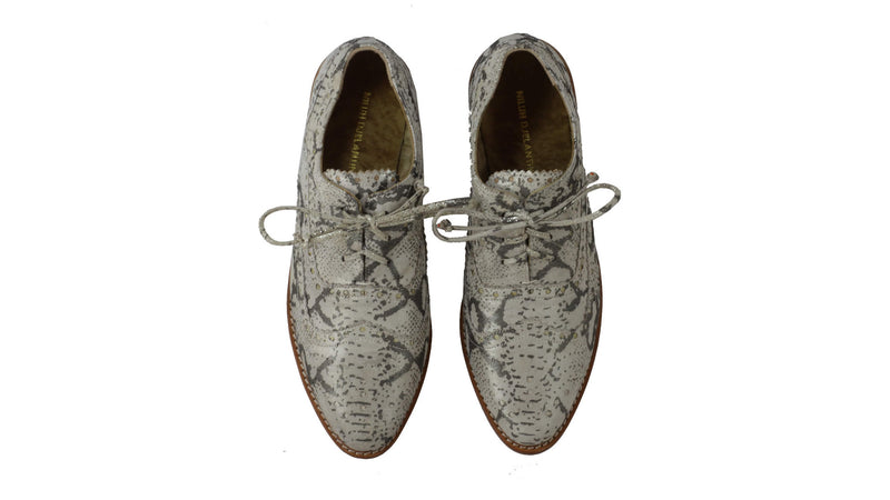 Leather-shoes-Pedro 25mm Flat - Grey Snake Print-flats laceup-NILUH DJELANTIK-NILUH DJELANTIK
