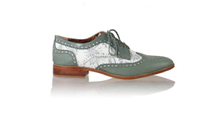 Leather-shoes-Mika 25mm Flats - Grey & White Silver Batik Print-flats laceup-NILUH DJELANTIK-NILUH DJELANTIK