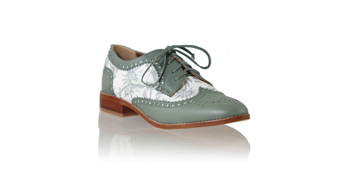 leather shoes Mika 25mm Flats - Grey & White Silver Batik Print, flats laceup , NILUH DJELANTIK - 1