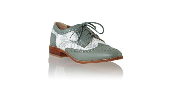 Leather-shoes-Mika 25mm Flat - Grey & White Silver Batik Print-flats laceup-NILUH DJELANTIK-NILUH DJELANTIK