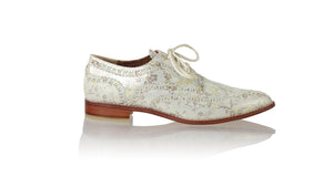 leather shoes Pedro 25mm Flats - Ivory Flower Print, flats laceup , NILUH DJELANTIK - 1