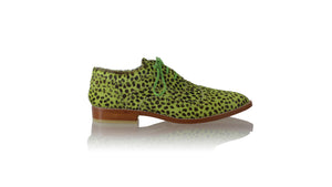 Leather-shoes-Pedro 25mm Flats - Lime Green Pony Leopard Print-flats laceup-NILUH DJELANTIK-NILUH DJELANTIK
