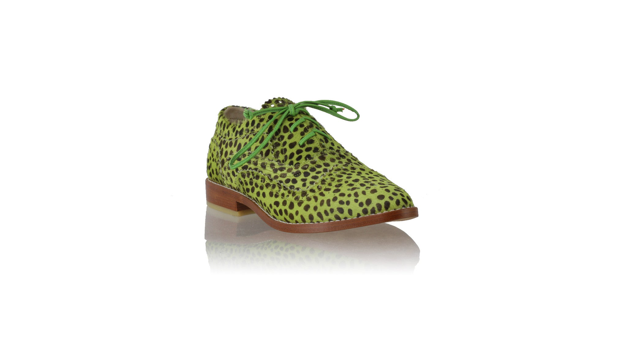 Leather-shoes-Pedro 25mm Flat - Lime Green Pony Leopard Print-flats laceup-NILUH DJELANTIK-NILUH DJELANTIK