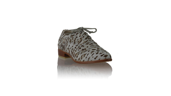 Leather-shoes-Pedro 25mm Flat - Light Grey Pony Leopard Print-flats laceup-NILUH DJELANTIK-NILUH DJELANTIK