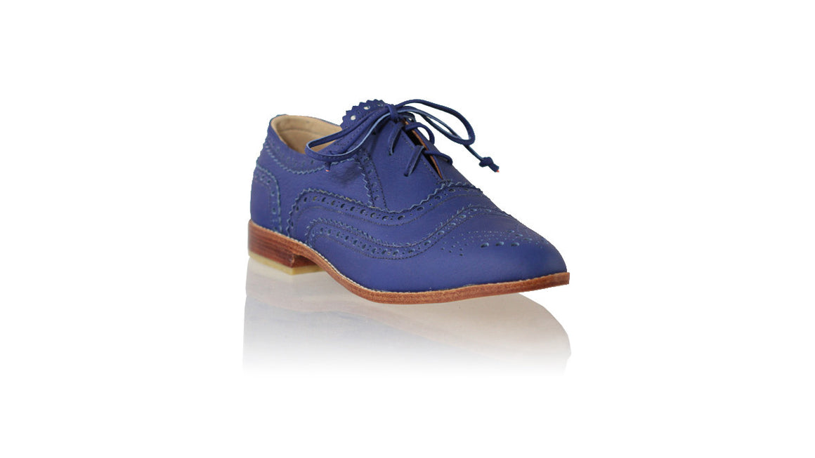 leather shoes Pedro 25mm Flats - Royal Blue, flats laceup , NILUH DJELANTIK - 1