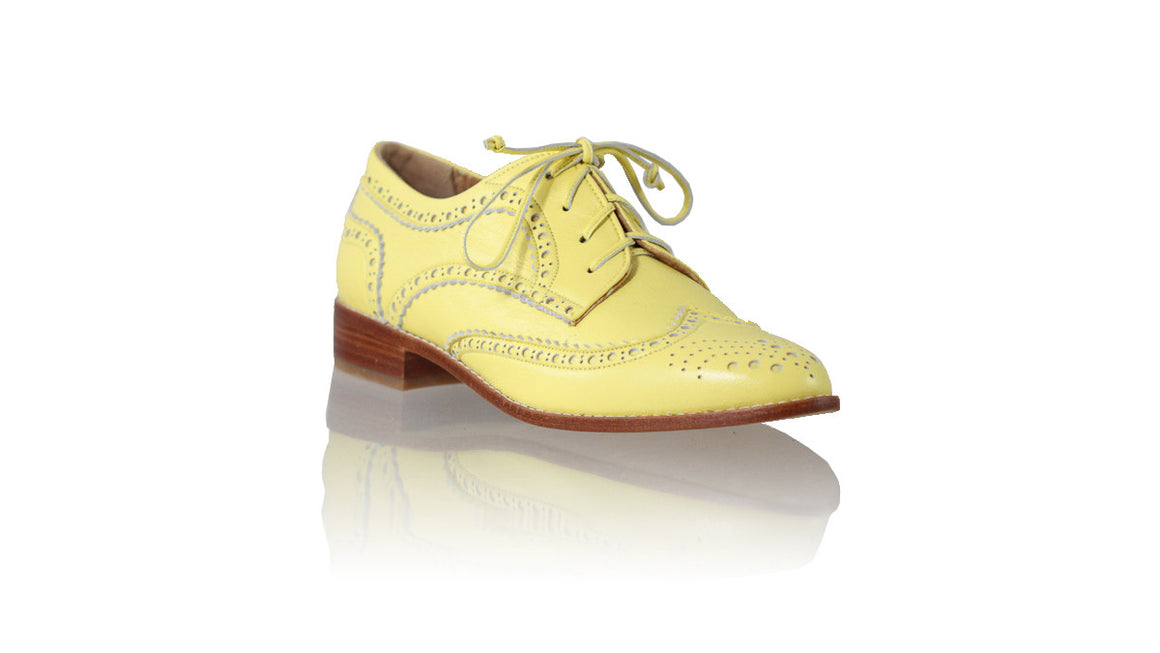 leather shoes Pedro 25mm Flats - Sunny Yellow, flats laceup , NILUH DJELANTIK - 1