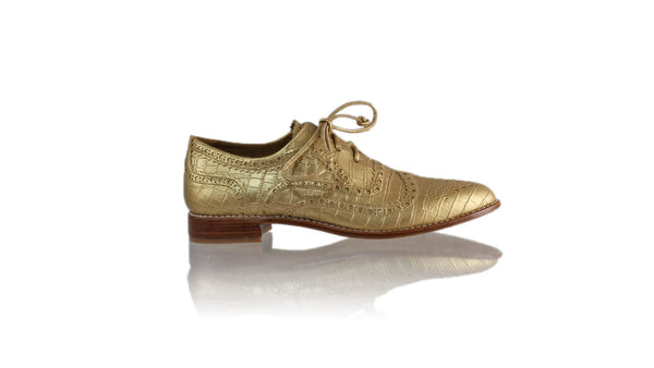 Leather-shoes-Pedro 25mm Flat - Gold Croco Faux Leather-flats laceup-NILUH DJELANTIK-NILUH DJELANTIK