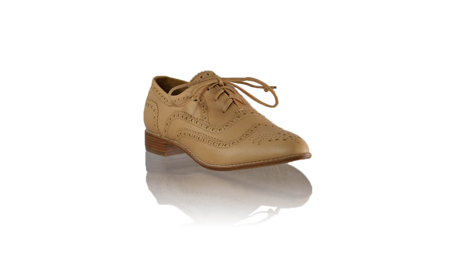 Leather-shoes-Pedro 25mm Flat - Nude-flats laceup-NILUH DJELANTIK-NILUH DJELANTIK