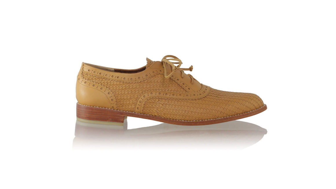 leather shoes Pedro Woven Enrique 25mm Flats - Brown (MEN), flats laceup , NILUH DJELANTIK - 1