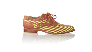 Leather-shoes-Pedro Woven Enrique 25mm Flats - Burnt Orange & Yellow Lime-flats laceup-NILUH DJELANTIK-NILUH DJELANTIK