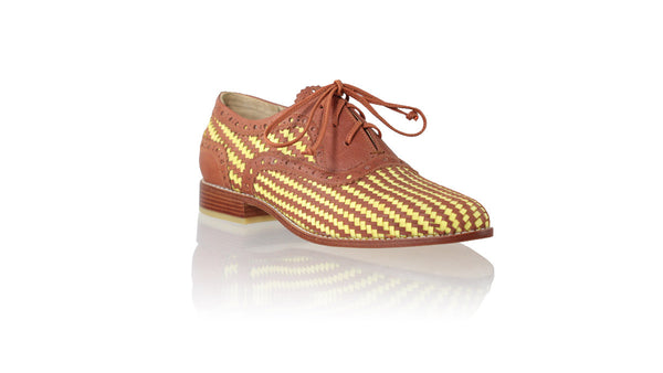 Leather-shoes-Pedro Woven Enrique 25mm Flat - Burnt Orange & Yellow Lime-flats laceup-NILUH DJELANTIK-NILUH DJELANTIK