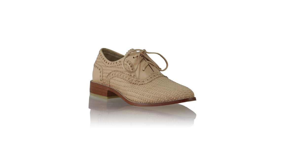 Leather-shoes-Pedro Woven Enrique 25mm Flats - Nude-flats laceup-NILUH DJELANTIK-NILUH DJELANTIK