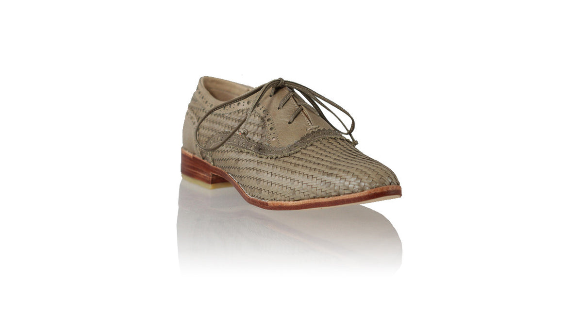 leather shoes Pedro Woven Enrique 25mm Flats - Olive, flats laceup , NILUH DJELANTIK - 1