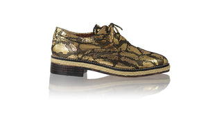 Leather-shoes-Pedro with Jute 25mm Flats - Black & Gold Snake Print-flats laceup-NILUH DJELANTIK-NILUH DJELANTIK