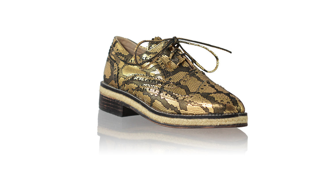 leather shoes Pedro with Jute 25mm Flats - Black & Gold Snake Print, flats laceup , NILUH DJELANTIK - 1