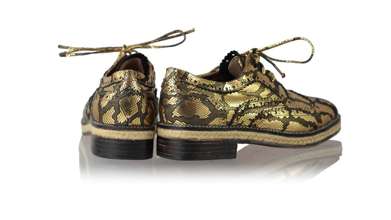 Leather-shoes-Pedro with Jute 25mm Flat - Black & Gold Snake Print-flats laceup-NILUH DJELANTIK-NILUH DJELANTIK
