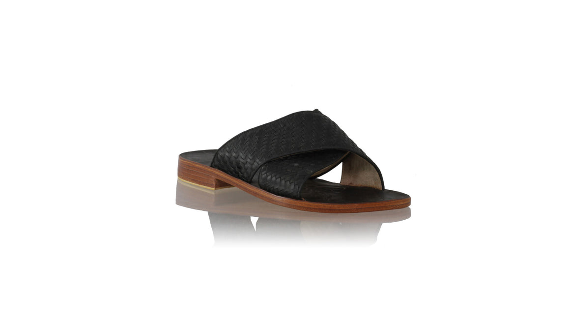 leather shoes Petra Woven Enrique without Strap 25mm Flats - Black, sandals flat , NILUH DJELANTIK - 1