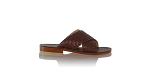 leather shoes Petra Woven Enrique without Strap 25mm Flats - Dark Brown (MEN), sandals flat , NILUH DJELANTIK - 1