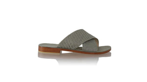 Leather-shoes-Petra Woven Enrique without Strap 25mm Flats - Grey (MEN)-sandals flat-NILUH DJELANTIK-NILUH DJELANTIK