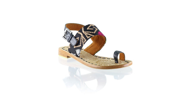 Leather-shoes-Prana 20mm Flat - Black & Black Songket-sandals flat-NILUH DJELANTIK-NILUH DJELANTIK