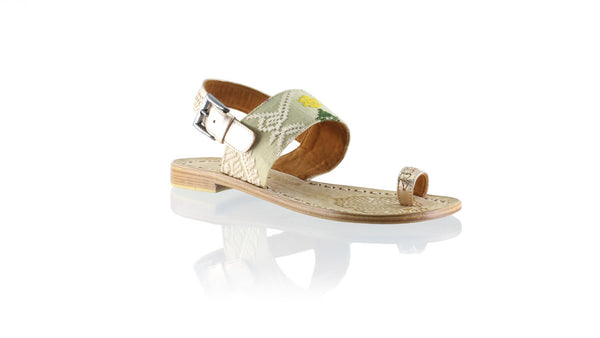 Leather-shoes-Prana 20mm Flat - Rose Gold & Cream Songket-sandals flat-NILUH DJELANTIK-NILUH DJELANTIK