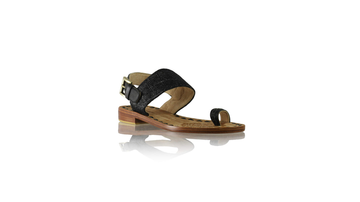 Leather-shoes-Prana 20mm Flat - Black & Black Glitter Linen-sandals flat-NILUH DJELANTIK-NILUH DJELANTIK