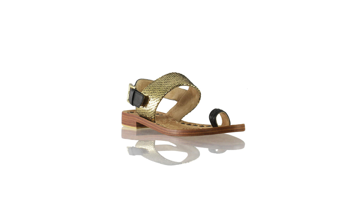 Leather-shoes-Prana 20mm Flat - Black & Gold Snake Print-sandals flat-NILUH DJELANTIK-NILUH DJELANTIK