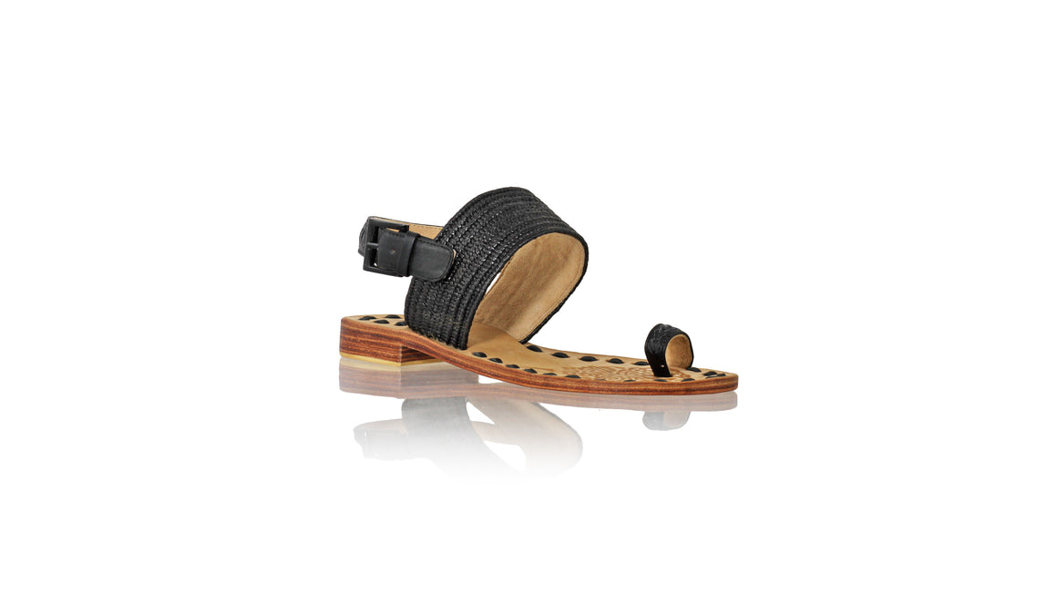 Leather-shoes-Prana 20mm Flat - Black Leather & Black Ribbon-sandals flat-NILUH DJELANTIK-NILUH DJELANTIK