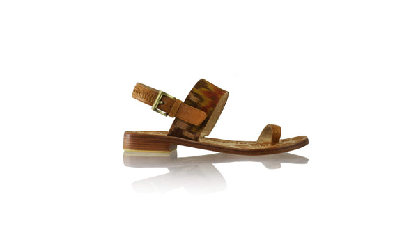 Leather-shoes-Prana 20mm Flat - Brown & Brown Handwoven Ikat-sandals flat-NILUH DJELANTIK-NILUH DJELANTIK