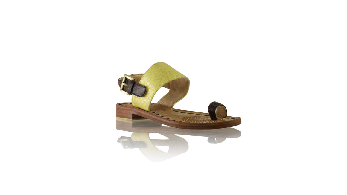 Leather-shoes-Prana 20mm Flat - Dark Brown & Yellow Glitter Linen-sandals flat-NILUH DJELANTIK-NILUH DJELANTIK