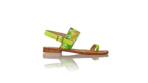 Leather-shoes-Prana 20mm Flat - Lime Green Leather & Yellow Green Flower Twill Cotton-sandals flat-NILUH DJELANTIK-NILUH DJELANTIK