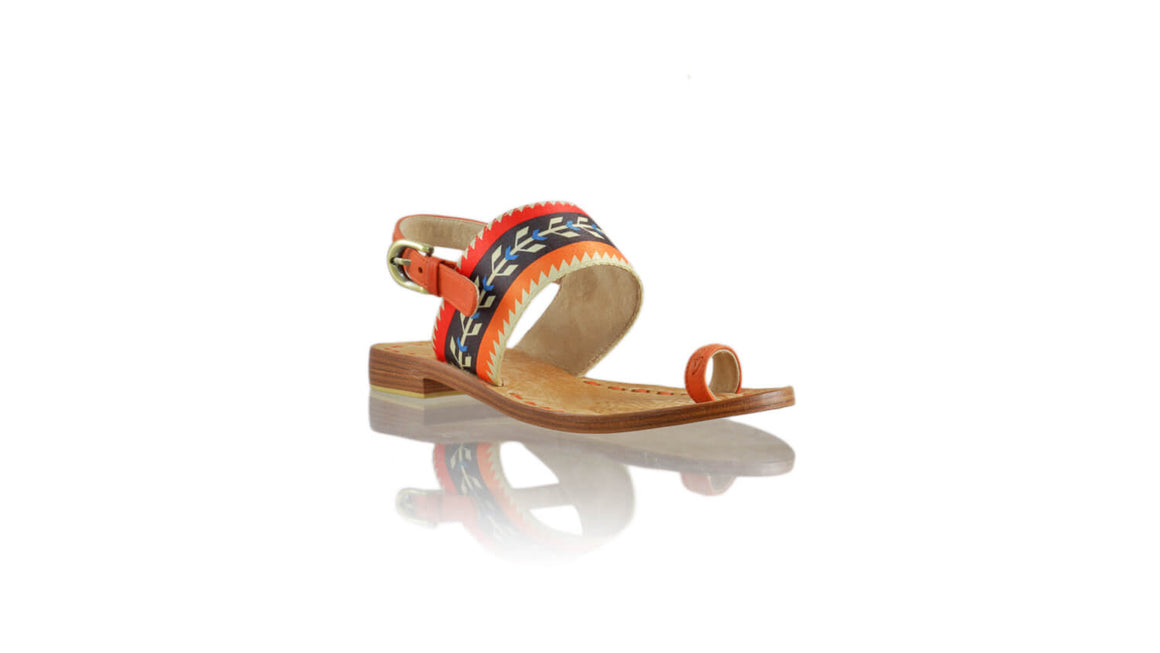 Leather-shoes-Prana 20mm Flat - Orange Leather & Red,Black,Orange Ribbon-sandals flat-NILUH DJELANTIK-NILUH DJELANTIK